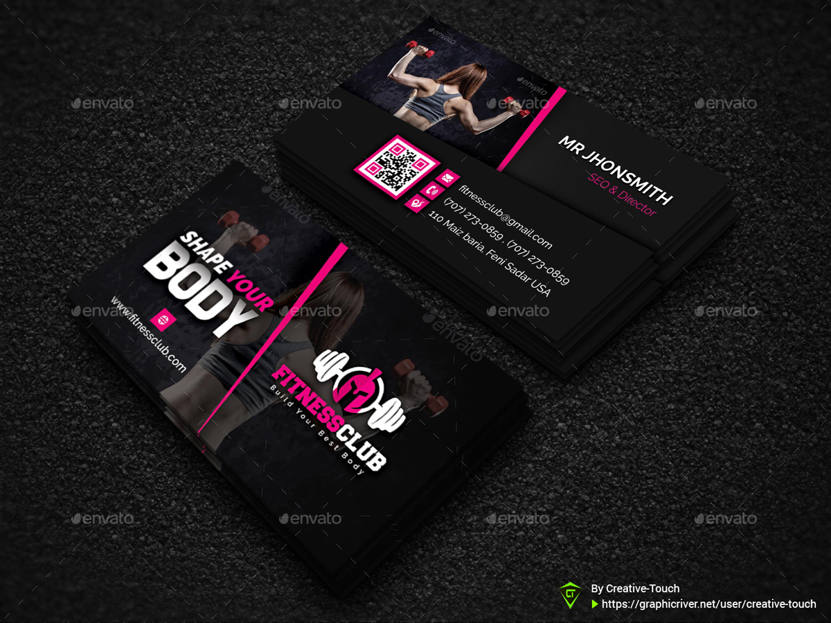 Fitness gym business card template by creative touch graphicriver fitness gym business card template creative business cards 01screenshotg 02screenshotg accmission Image collections
