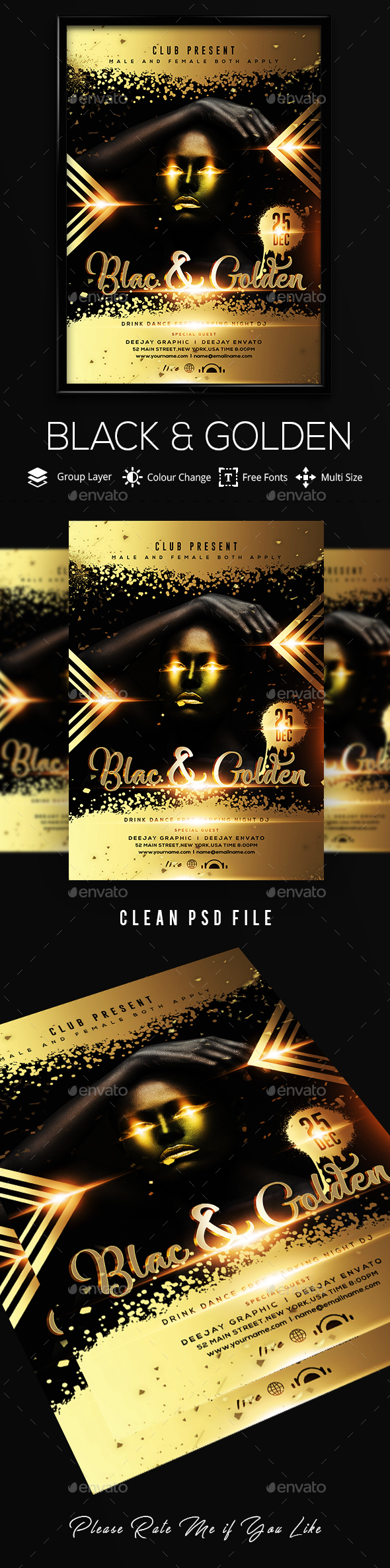 Black & Gold Party Flyer - Clubs & Parties Events