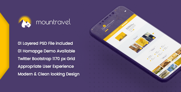 Mountravel - Lead Generation Landing Page PSD Template