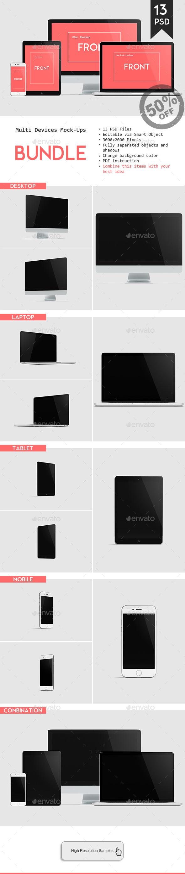 Multi Devices Responsive Website Mockup Bundle - Displays Product Mock-Ups