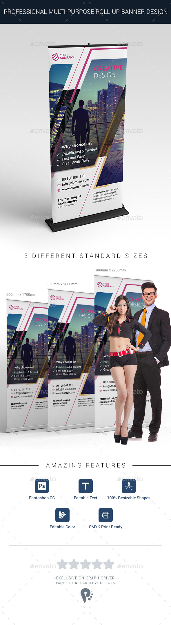 Professional Multi-purpose Roll-up Banner Design - Signage Print Templates