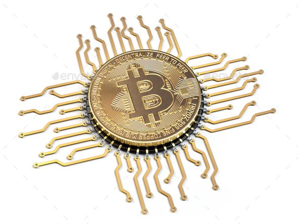Bitcoin like a  CPU computer processor isolated on white backgro - Stock Photo - Images