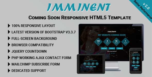 Imminent - Coming Soon Responsive HTML5 Template