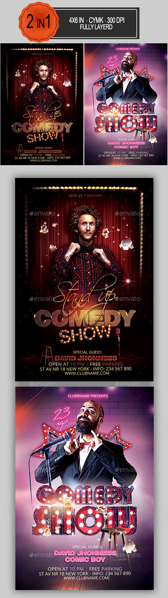 Comedy Flyer Bundle - Clubs & Parties Events