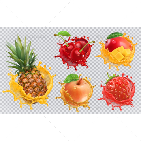 Fresh Fruits And Splashes - Vectors
