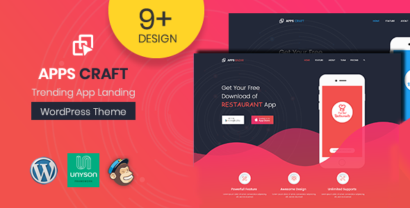 ThemeForest Apps Craft App Landing Page WordPress Theme 20731314