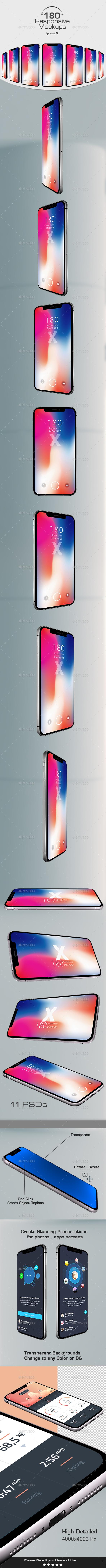 180 Responsive 3D Mockups - Phone X
