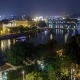 Scenic View of Bridges on the Vltava River Night