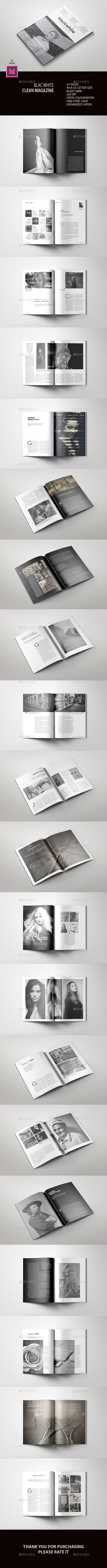 Black White Clean Magazine - Magazines Print Templates