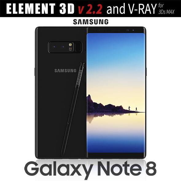 3DOcean Samsung Galaxy Note 8 Midnight Black 20731879