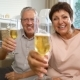 Elderly Couple Connected with Friends Using Laptop Video Call Camera and Drinking Champagne - VideoHive Item for Sale