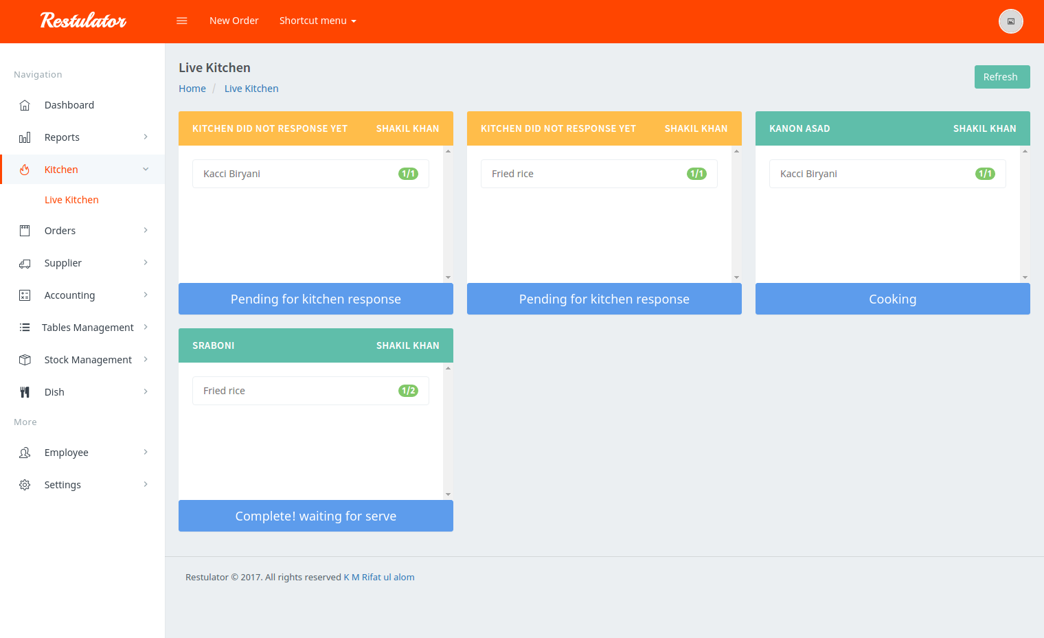 Restulator - Restaurant Management System in Laravel 5 5 with Pusher and  jQuery