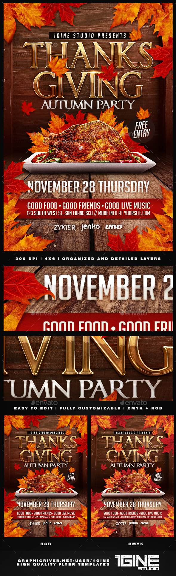 Thanksgiving Autumn Party Flyer Template - Holidays Events