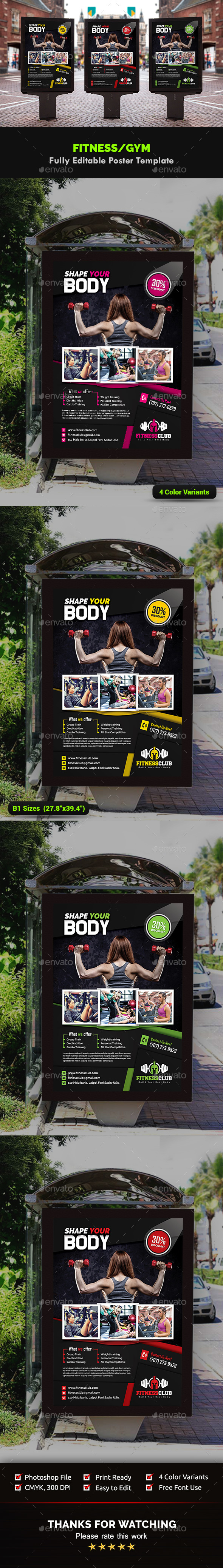 Fitness / Gym Poster Templates - Signage Print Templates