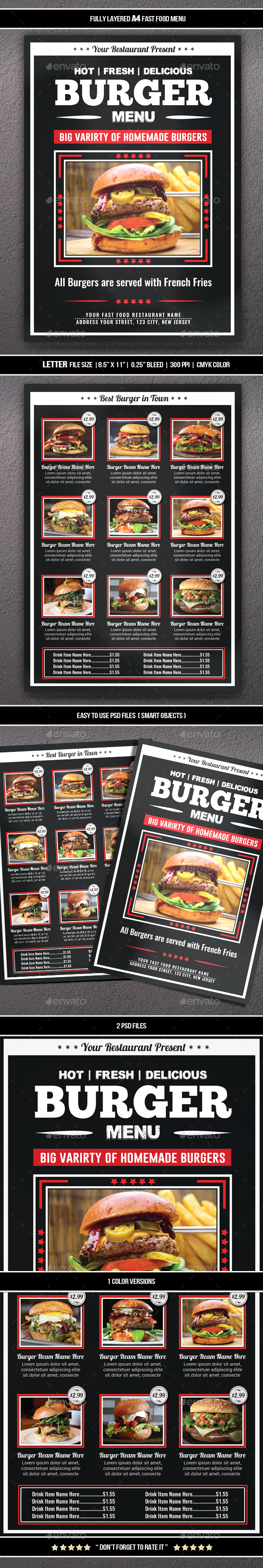 Fast Food Menu Flyer (A4) - Restaurant Flyers