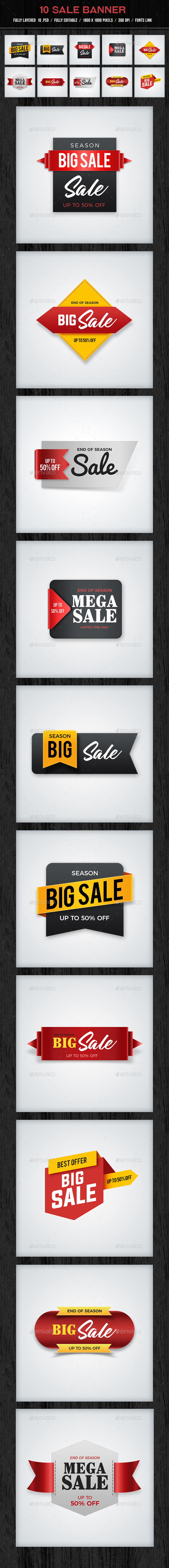 10 Sale Banners - Banners & Ads Web Elements