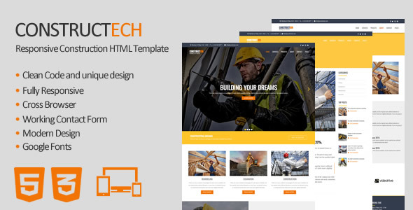 Constructech - Responsive Construction HTML Template - Business Corporate