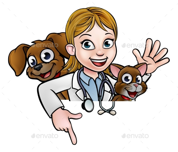 Woman Vet Cartoon Character Pointing Sign
