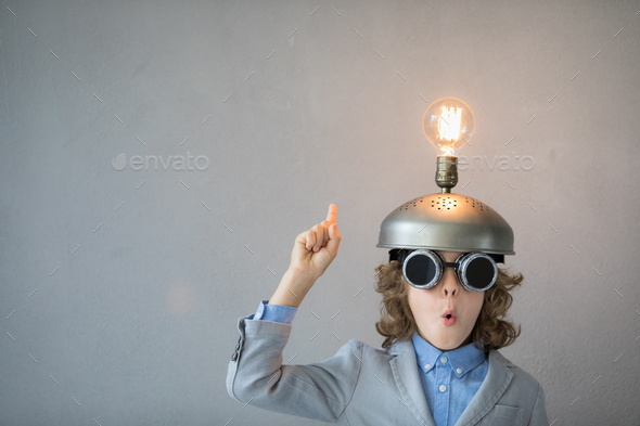 Child with toy virtual reality headset - Stock Photo - Images