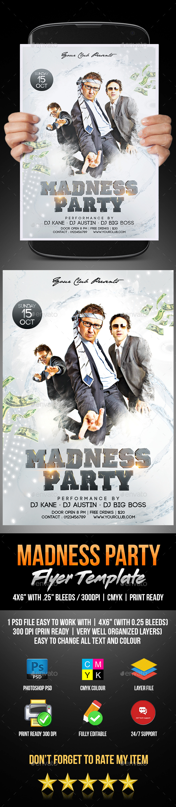 Madness Party Flyer - Flyers Print Templates