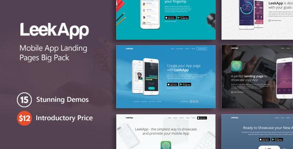ThemeForest LeekApp Mobile App Landing Pages Big Pack 20629838