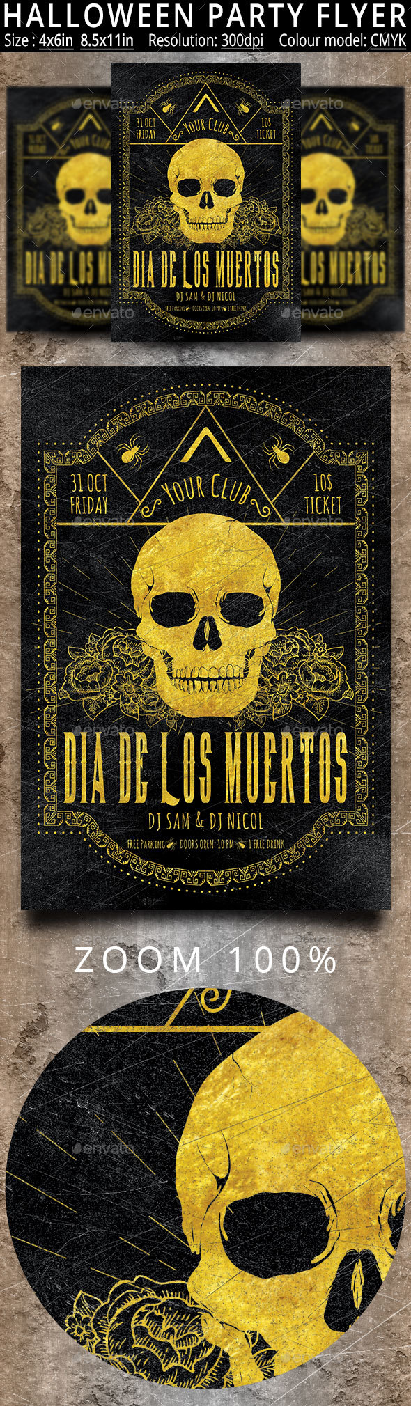 Halloween Dia De Los Muertos Flyer And Poster - Holidays Events