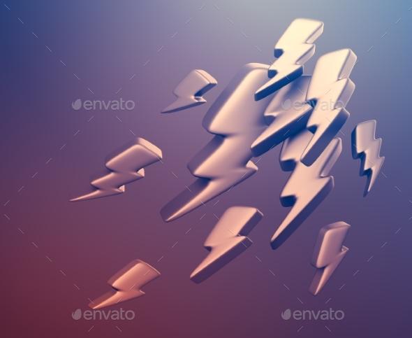 Illustration of Lightning Symbols. 3D Rendering - Abstract 3D Renders