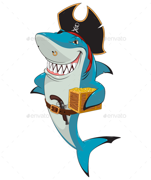 White Shark Pirate - Animals Characters
