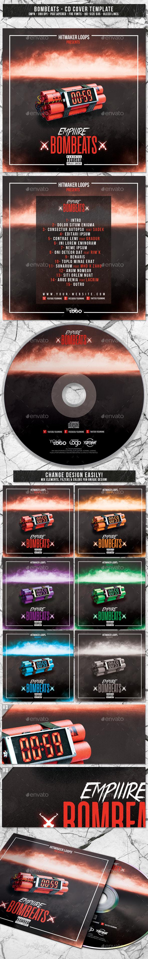 Bombeats | Album CD Mixtape Cover Template - CD & DVD Artwork Print Templates