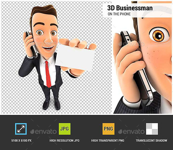 3D Businessman on the Phone and Holds Blank Card - Characters 3D Renders
