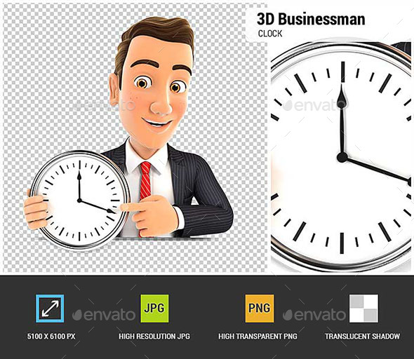 3D Businessman Pointing on a Wall Clock - Characters 3D Renders