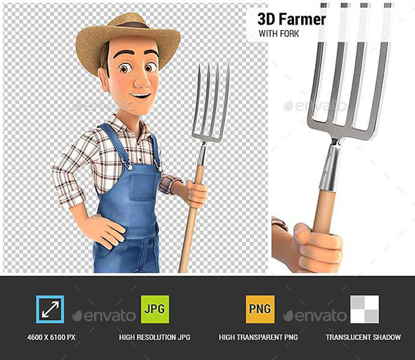 3D Farmer Standing Up with Fork - Characters 3D Renders