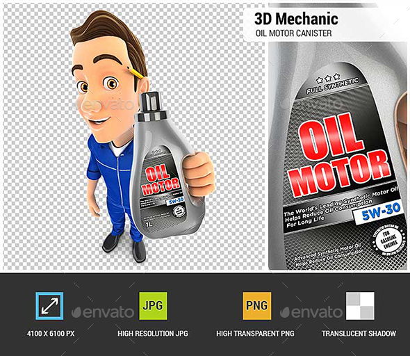 3D Mechanic Holding Oil Motor Canister - Characters 3D Renders