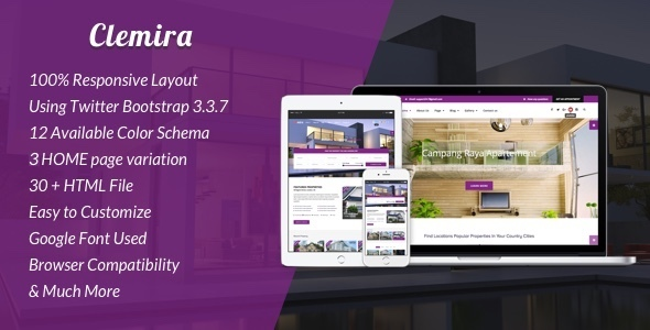 ThemeForest Clemira Responsive Real Estate HTML Template 20622517