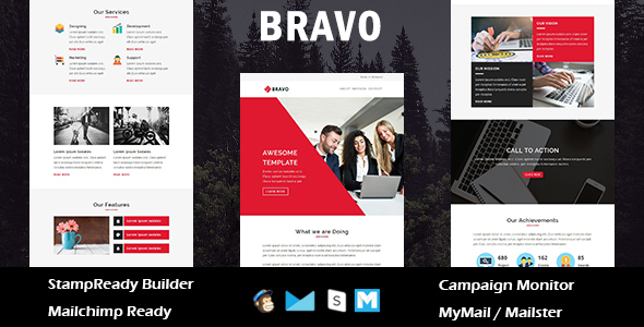 Bravo - Multipurpose Responsive Email Templates with Stamp Ready Builder Access - Newsletters Email Templates