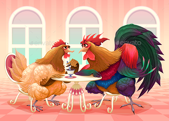 Hen and Rooster in a Cafe - Animals Characters