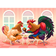Hen and Rooster in a Cafe - GraphicRiver Item for Sale