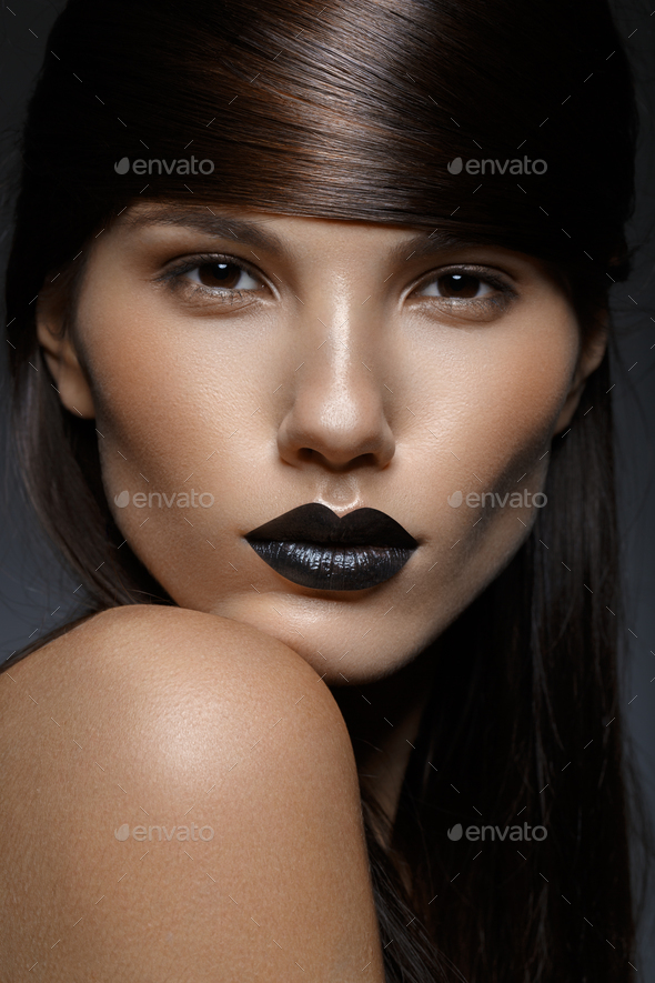 beautiful girl with black lips - Stock Photo - Images