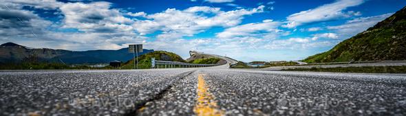 Panorama Atlantic Ocean Road Norway - Stock Photo - Images