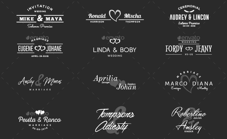 50 Wedding Titles Logo By Rancowegan Graphicriver