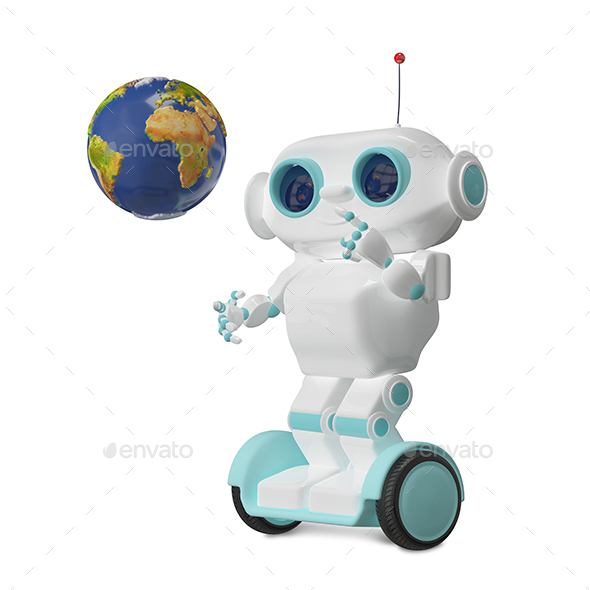 3D Illustration Robot with Globe on Scooter - Characters 3D Renders