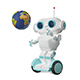 3D Illustration Robot with Globe on Scooter - GraphicRiver Item for Sale