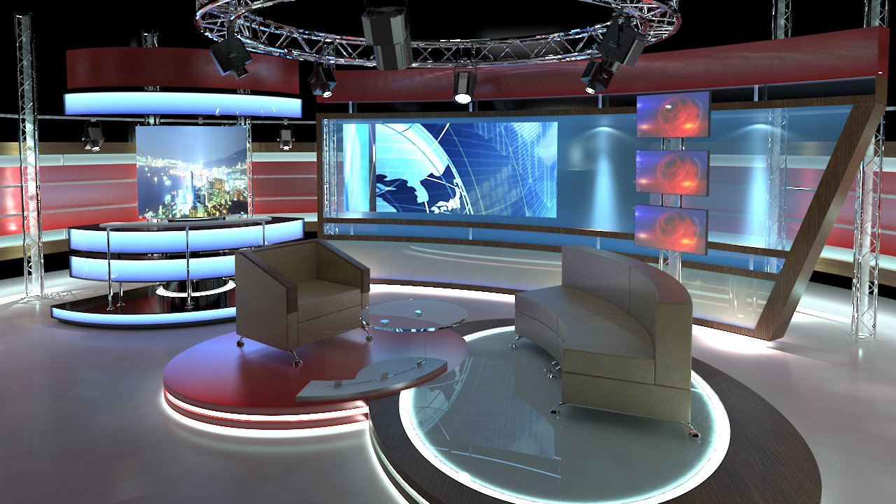 Virtual TV Studio Chat Set 1 by canan85 3DOcean