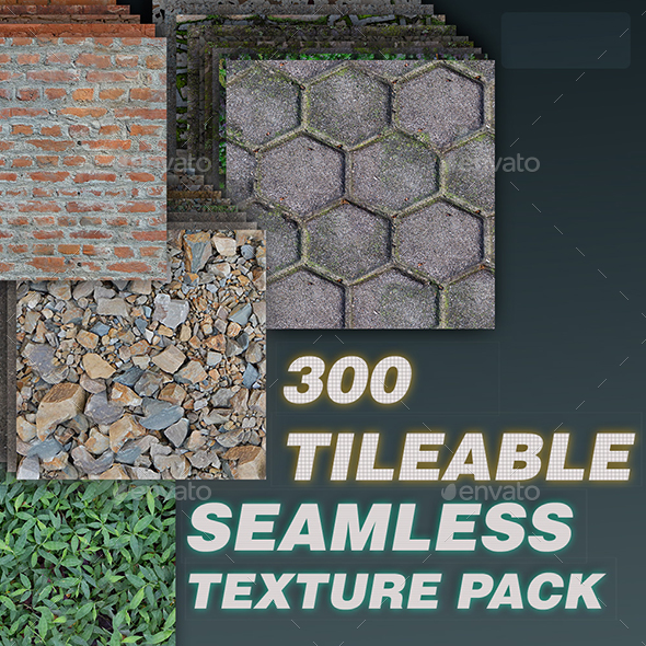 300 Tileable Textures in a Single Bundle - 3DOcean Item for Sale