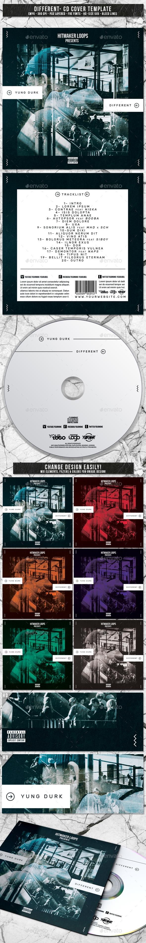Different | Album CD Mixtape Cover Template - CD & DVD Artwork Print Templates