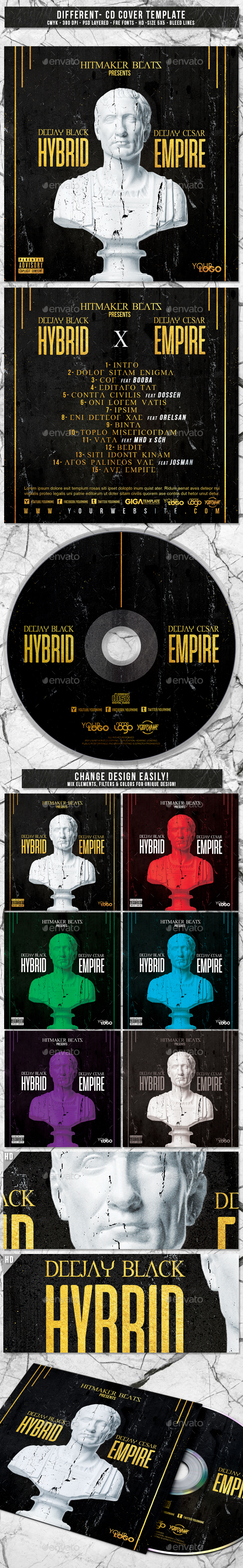 Hybrid Empire | Album CD Mixtape Cover Template - CD & DVD Artwork Print Templates