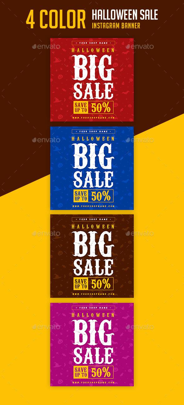 Halloween Sale Instagram Banner - Banners & Ads Web Elements