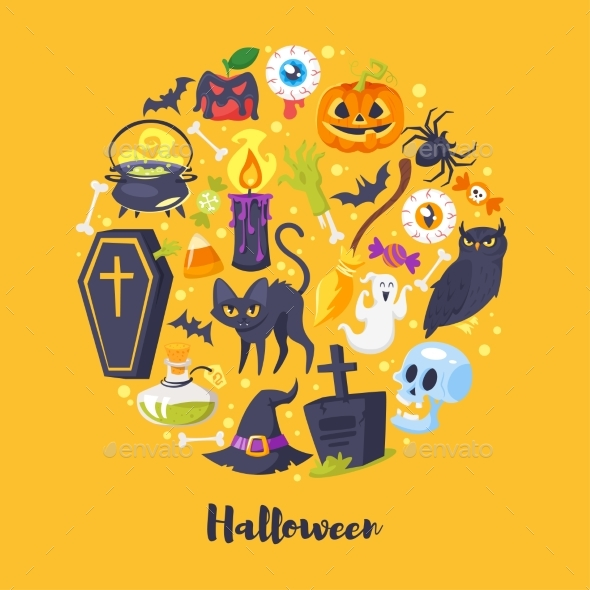 Round Composition of Halloween Symbols