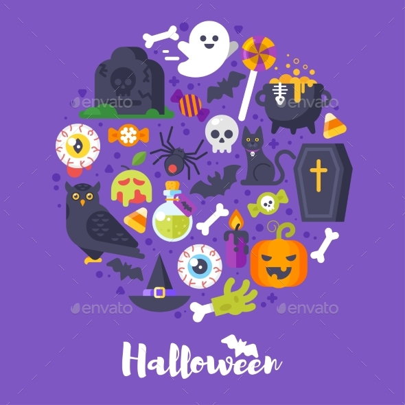 Round Composition of Halloween Symbols - Halloween Seasons/Holidays