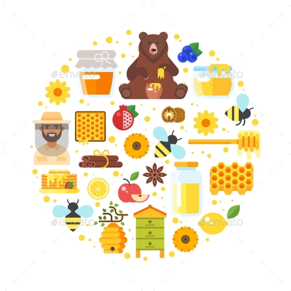 Composition of Honey Icons - Food Objects